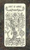 Acht van toverstokjes De Magische kaart van het Poorttarot vector illustratie