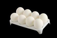 Acht weiße Eier im Karton Lizenzfreie Stockfotografie