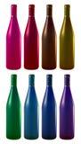 Acht Weinflaschen Stockfotografie