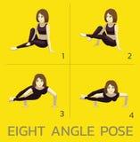 Acht Winkel-Haltungs-Yoga-Manga Tutorial How Cartoon Vector-Illustration stock abbildung