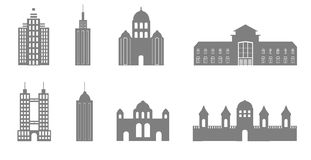 Acht zwart-witte gebouwen Royalty-vrije Stock Foto's