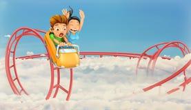 Achtbaan in de wolken stock illustratie