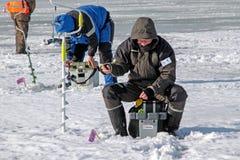 Achte Welteis-Fischen-Meisterschaft in Charkiw-Region, Ukraine am 5.-6. Februar 2011 Lizenzfreies Stockfoto