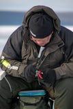 Achte Welteis-Fischen-Meisterschaft in Charkiw-Region, Ukraine am 5.-6. Februar 2011 Stockbild
