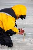 Achte Welteis-Fischen-Meisterschaft in Charkiw-Region, Ukraine am 5.-6. Februar 2011 Stockfotos