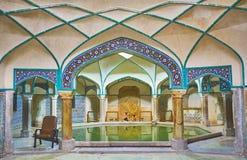 Achteckiger Swimmingpool von Hammam-e Ganjali Khan, Kerman, der Iran Stockfotos