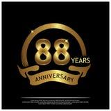 Achtentachtig jaar verjaardags gouden het ontwerp van het verjaardagsmalplaatje voor Web, spel, Creatieve affiche, boekje, pamfle stock illustratie