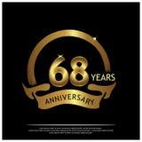Achtenzestig jaar verjaardags gouden het ontwerp van het verjaardagsmalplaatje voor Web, spel, Creatieve affiche, boekje, pamflet royalty-vrije illustratie