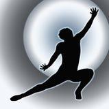 Achter Dansende Dame Kneeling Spread Leg van de schijnwerper Stock Foto