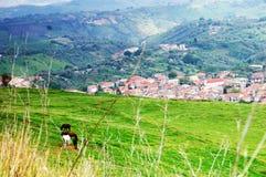 Achter de schermen van een panorama van het land Stock Foto