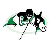 Achter het berijden van het paard POLO Stock Foto