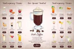 Achter het menuontwerp van de Tekenings horisontal cocktail Royalty-vrije Stock Afbeelding