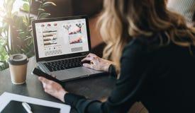 Achter mening De jonge onderneemster werkt aan laptop met grafieken, grafieken, diagrammen, programma's op het scherm Online op d stock afbeelding