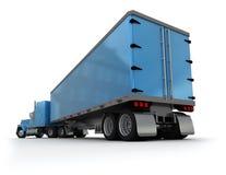 Achter mening van een grote blauwe aanhangwagenvrachtwagen stock afbeelding