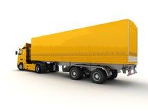 Achter mening van een grote gele vrachtwagen Stock Afbeelding