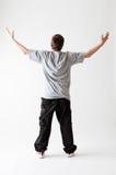 Achter mening van tiener in grijze T-shirt Royalty-vrije Stock Foto's