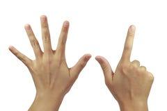 Achter van palm met vinger zeven toon Stock Foto