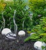 Achter, witte en groene tuin van glas en het leven installaties Stock Fotografie