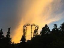 Achterbahn bei Sonnenuntergang Lizenzfreies Stockfoto