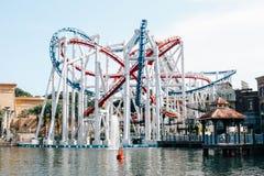 Achterbahn in Universal Studios Singapur Stockbild