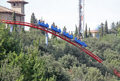 Achterbahnanziehungskraft im Tibidabo-Vergnügungspark, Barcelona, Katalonien, Spanien Stockbilder