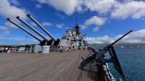 Achterbatterij van Teken 7 kanonnen op USS Missouri Royalty-vrije Stock Afbeelding