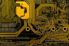 Achtereind gele motherboard stock foto's