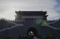 Achtereind van de Poort van Qianmen Zhengyangmen van de Boogschietentoren van de Zenitzon in historische de stadsmuur van Peking Royalty-vrije Stock Foto