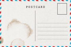 Achtereind van lege prentbriefkaar met vlek royalty-vrije illustratie