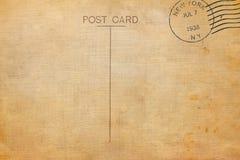 Achtereind van lege prentbriefkaar met vuile vlek stock foto