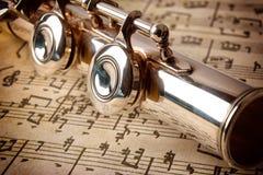 Achtergedeelte van opgeheven mening van het fluit de oude met de hand geschreven blad muziek Stock Foto's