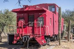 Achtergedeelte van Spoorweg Caboose in de Woestijn van Arizona stock fotografie