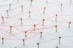 Achtergrond Abstract concept netwerk, sociale media, Internet, groepswerk, mededeling Langs verbonden spijkers royalty-vrije stock fotografie