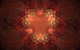 Achtergrond abstract patroon van heldere rode kleur met gele die vierkanten op elkaar in het centrum worden toegevoegd stock illustratie