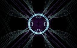 Achtergrond abstract symbool in de vorm van een lilac bloem in het centrum met een lichtgevende ring rond en divergerende lijnen  Royalty-vrije Stock Fotografie