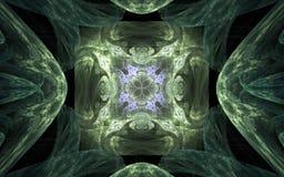 Achtergrond abstract symmetrisch patroon in de vorm van een bloem met het lilac rond scherpen in het centrum en het groene orname Stock Afbeelding