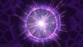 Achtergrond abstracte cirkelanimatie Deeltjesexplosie het van een lus voorzien royalty-vrije illustratie