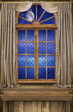 Achtergrond Art Captains Quarter Window Ocean Stock Afbeelding