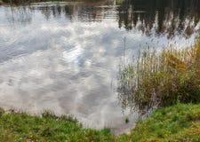 Achtergrond Bezinning over de oppervlakte van de vijver Royalty-vrije Stock Foto