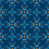 Achtergrond, blauw, naadloos patroon met blauwe bloemen en oranje takken Royalty-vrije Stock Afbeelding