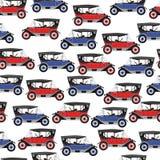Achtergrond blauwe en rode beeldverhaal retro auto Stock Foto