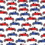 Achtergrond blauwe en rode beeldverhaal retro auto Stock Foto's
