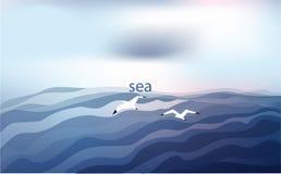 Achtergrond in blauwe tonen met het overzees en de zeemeeuwen onder een bewolkte hemel Vector illustratie royalty-vrije illustratie
