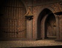 Achtergrond cel in een oude kasteelkelder Stock Foto's