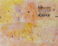 Achtergrond in de techniek om met tekst, danser scrapbooking Stock Foto