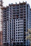 Achtergrond, de textuur van bouw van een nieuw high-rise gebouw royalty-vrije stock foto's