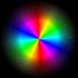 Achtergrond in de vorm van een gekleurde bal met geïsoleerde stralen stock foto's