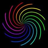 Achtergrond in de vorm van een spiraal van de kleurenregenboog op een zwarte achtergrond vector illustratie