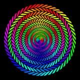 Achtergrond in de vorm van verdraaide spiralen van gekleurde stralen op een zwarte achtergrond Vectorillustratie voor Webontwerp stock illustratie