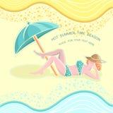 Achtergrond de zomertijd met meisje op strand Royalty-vrije Stock Foto's